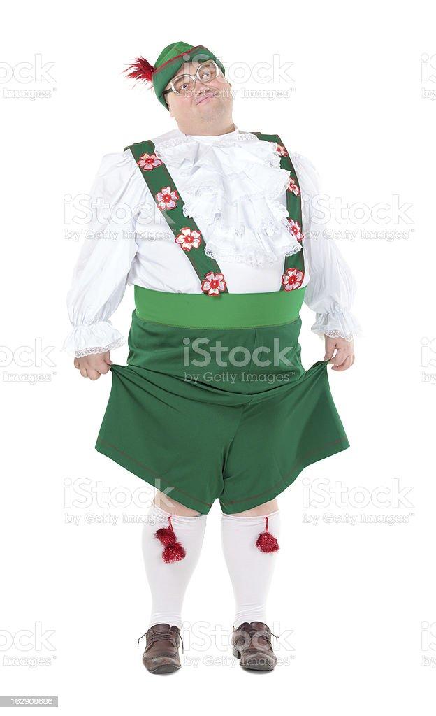 Funny fat man wearing German Bavarian clothes stock photo