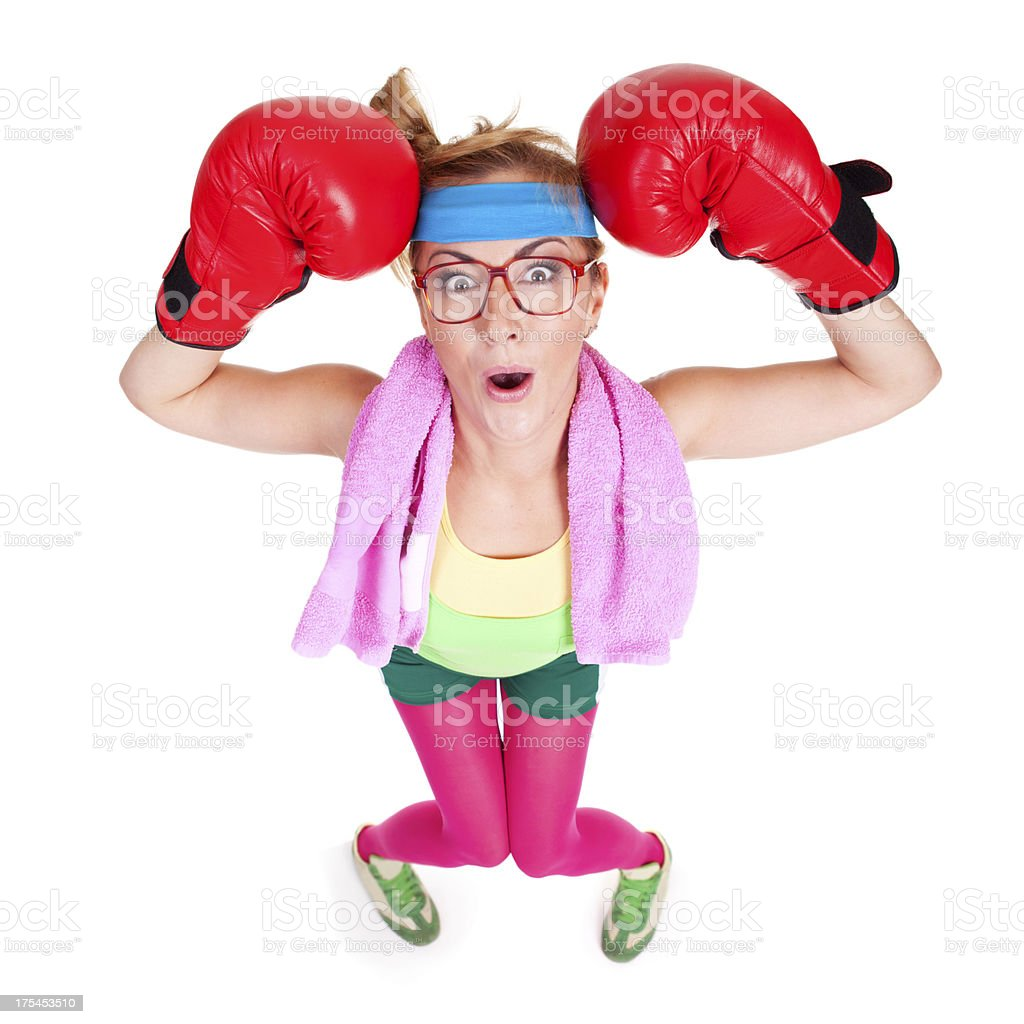 Funny female boxer standing isolated on white background royalty-free stock photo