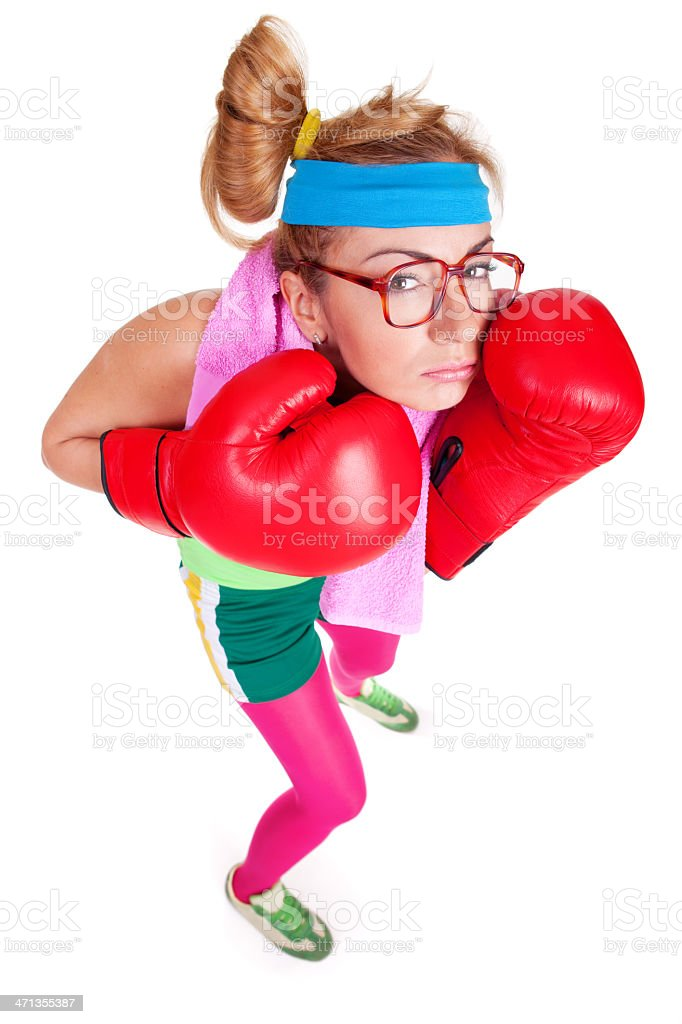 Funny female boxer with defensive boxing stance stock photo