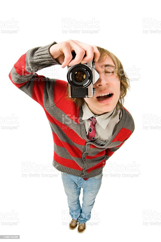 Funny fisheye shoot of young man with camera stock photo