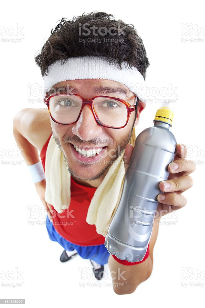 Funny fitness guy with glasses holding bottle royalty-free stock photo