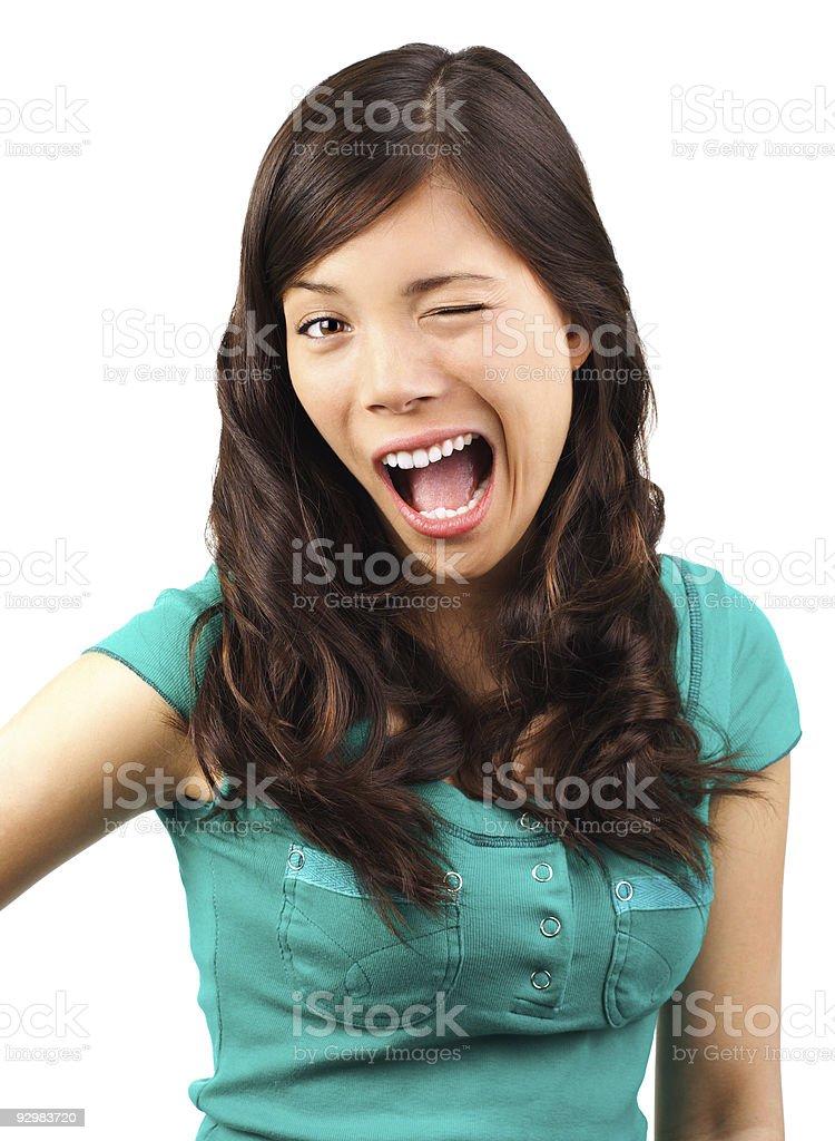 Funny flirting woman stock photo