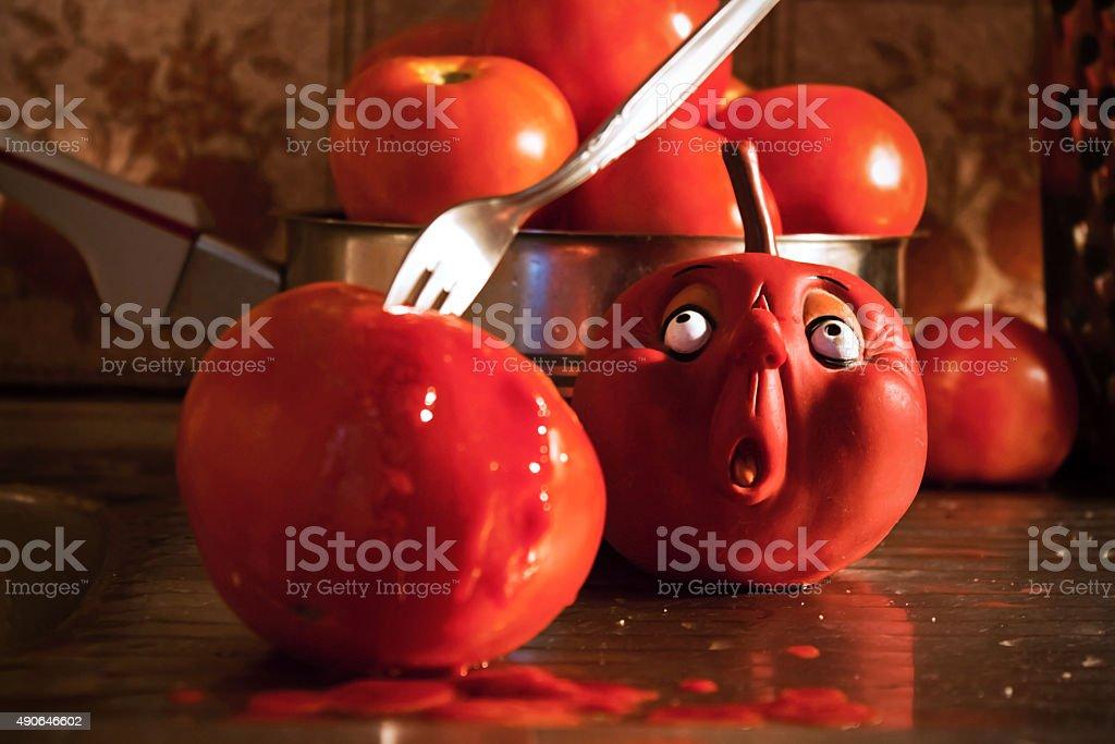 Funny food kitchen crime murder scene stock photo