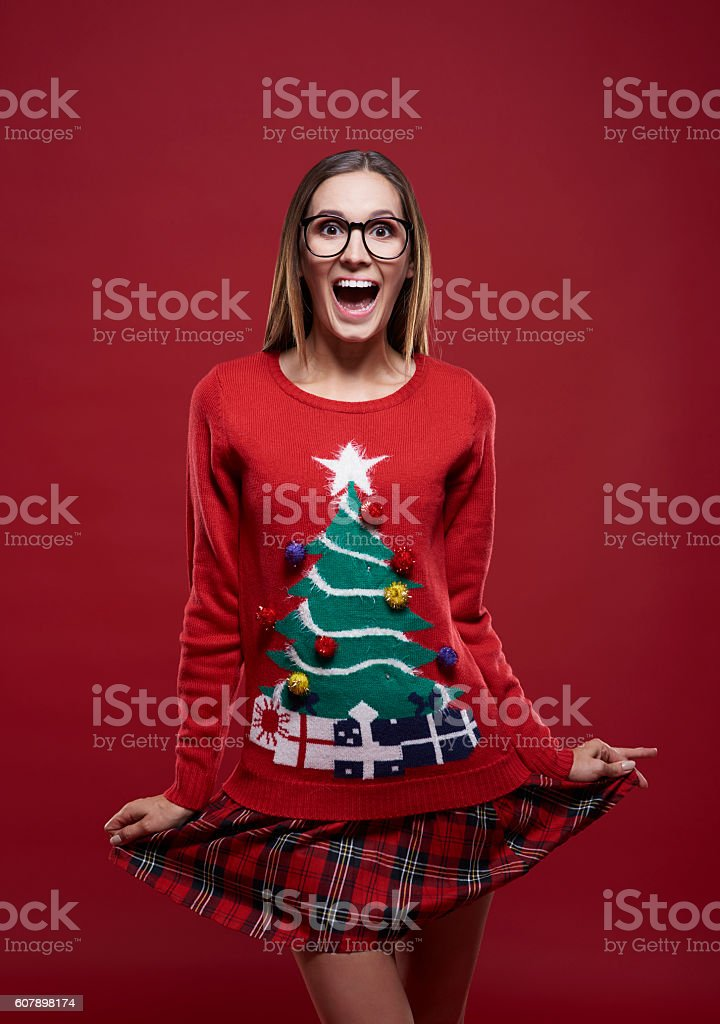 Funny girl in christmas time stock photo