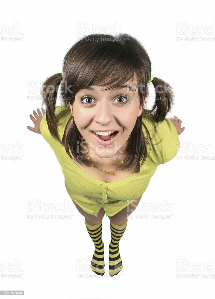 Funny girl in green royalty-free stock photo