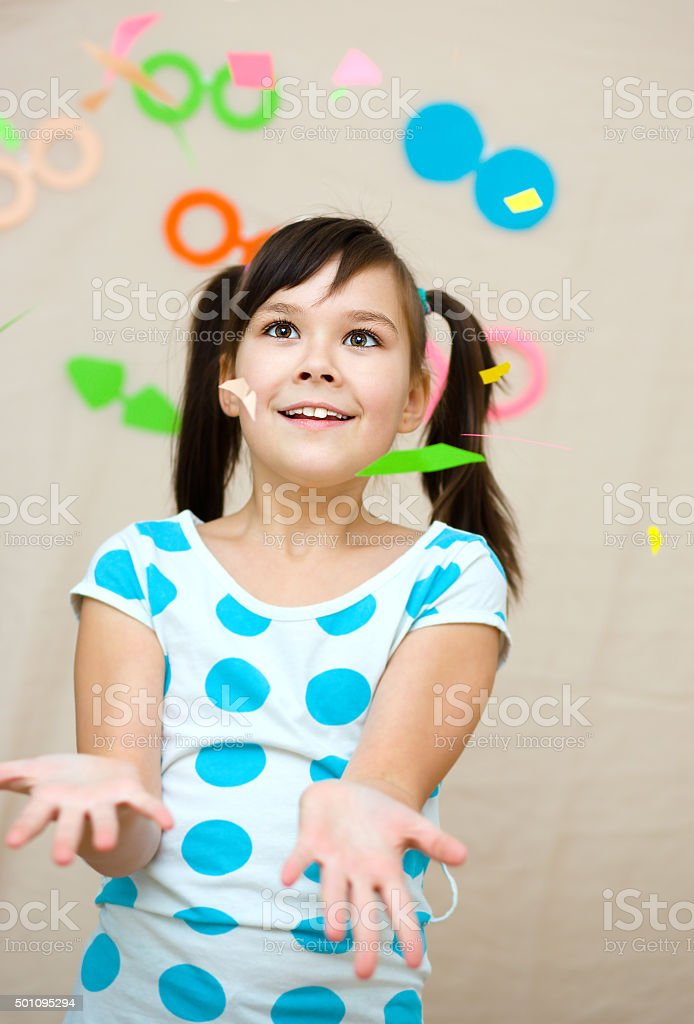 Funny girl with fake glasses stock photo