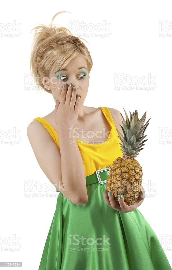 Funny girl with pineapple royalty-free stock photo