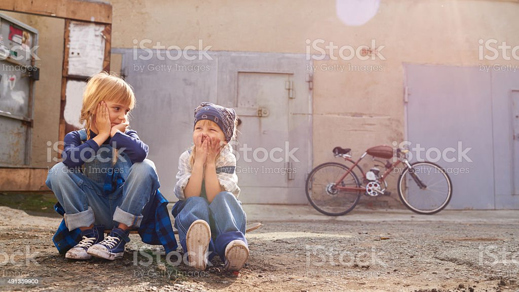 Funny girls stock photo