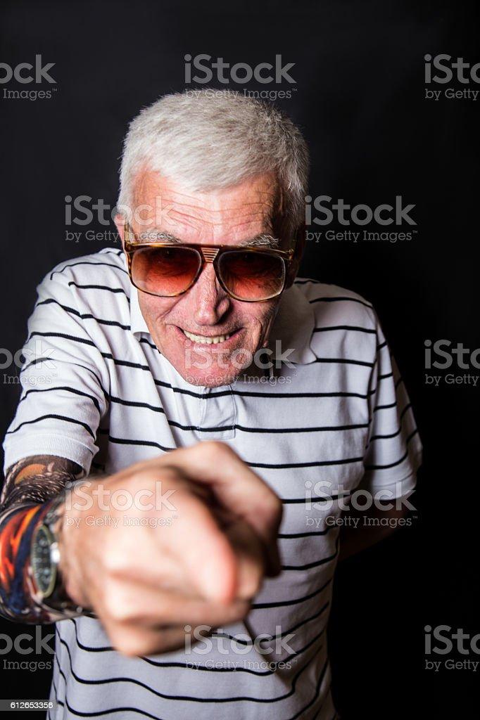 Funny grandpa stock photo