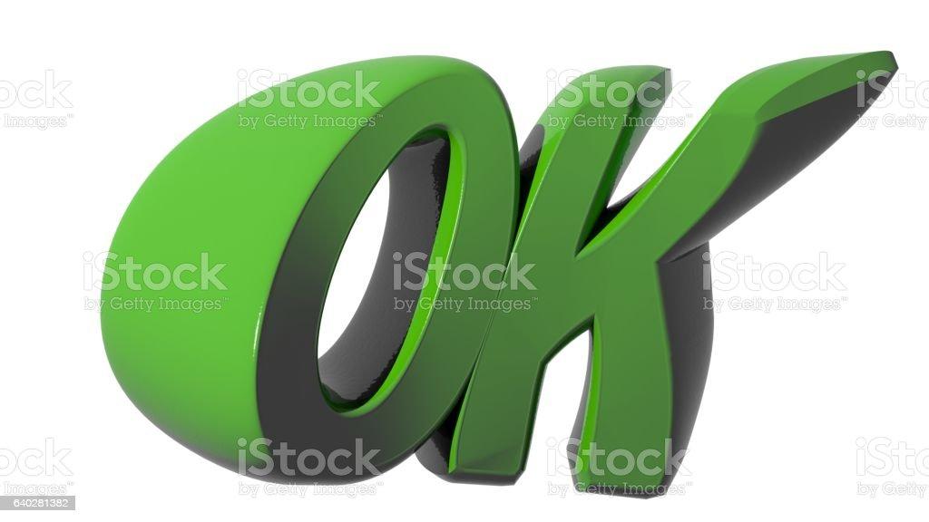 OK funny green on white background stock photo