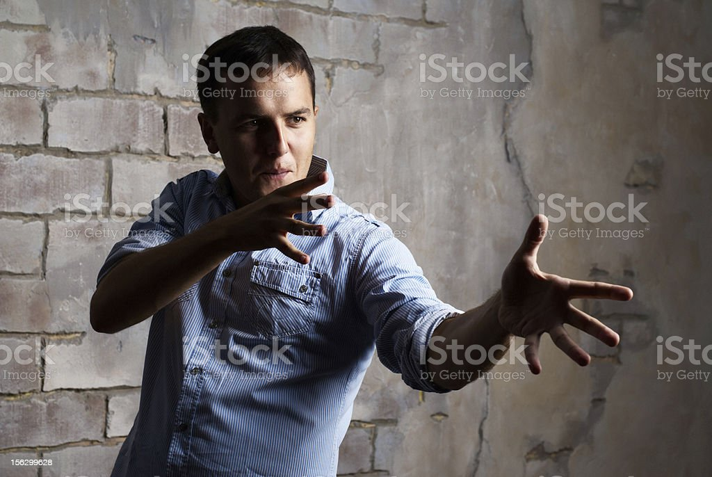 funny guy against wall royalty-free stock photo