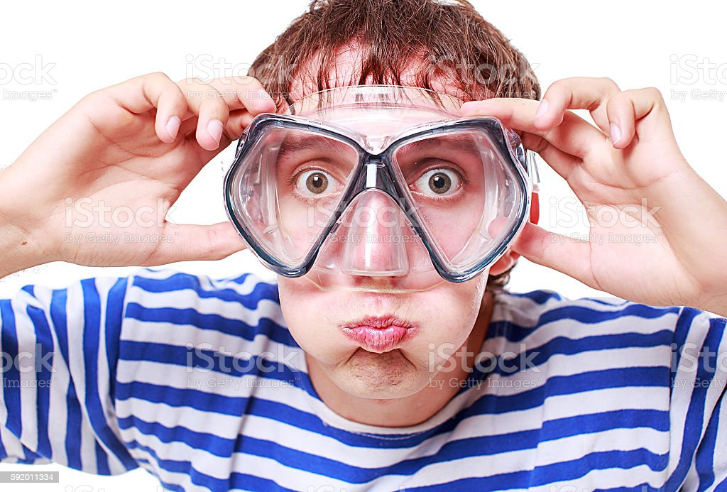 funny guy in a mask for diving stock photo