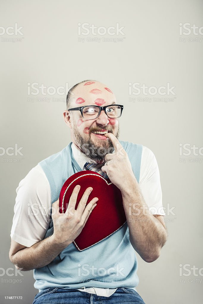 Funny Guy in Lipstick Kisses Smiling royalty-free stock photo