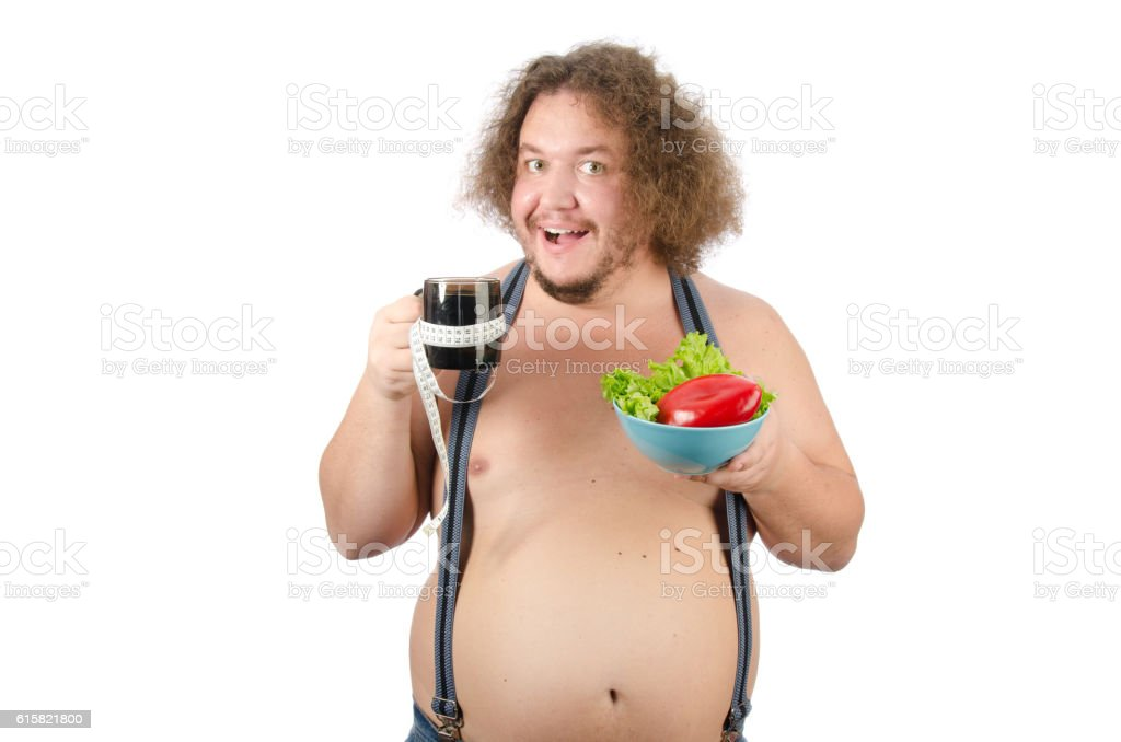 Funny guy on a diet. stock photo