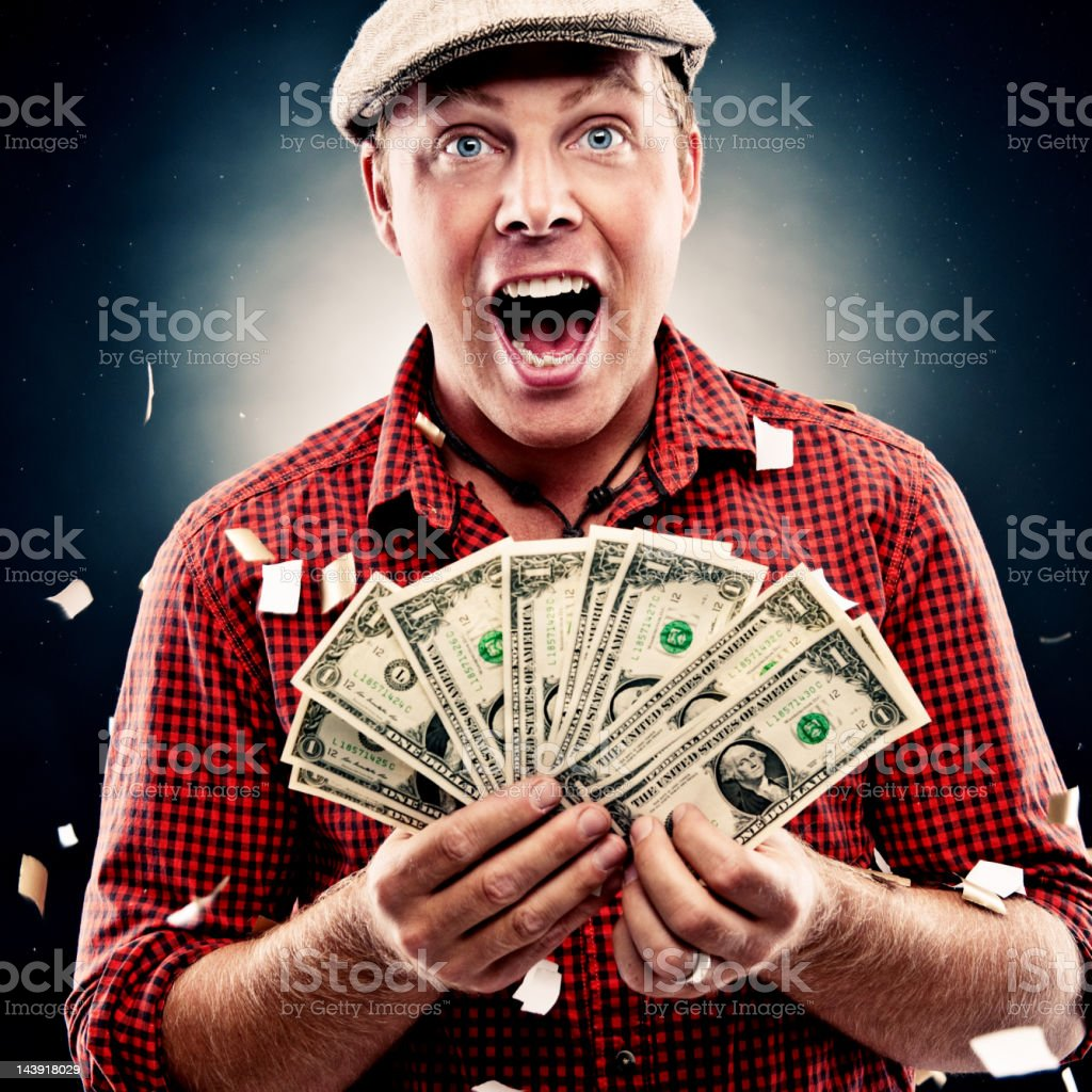 Funny guy with dollars royalty-free stock photo