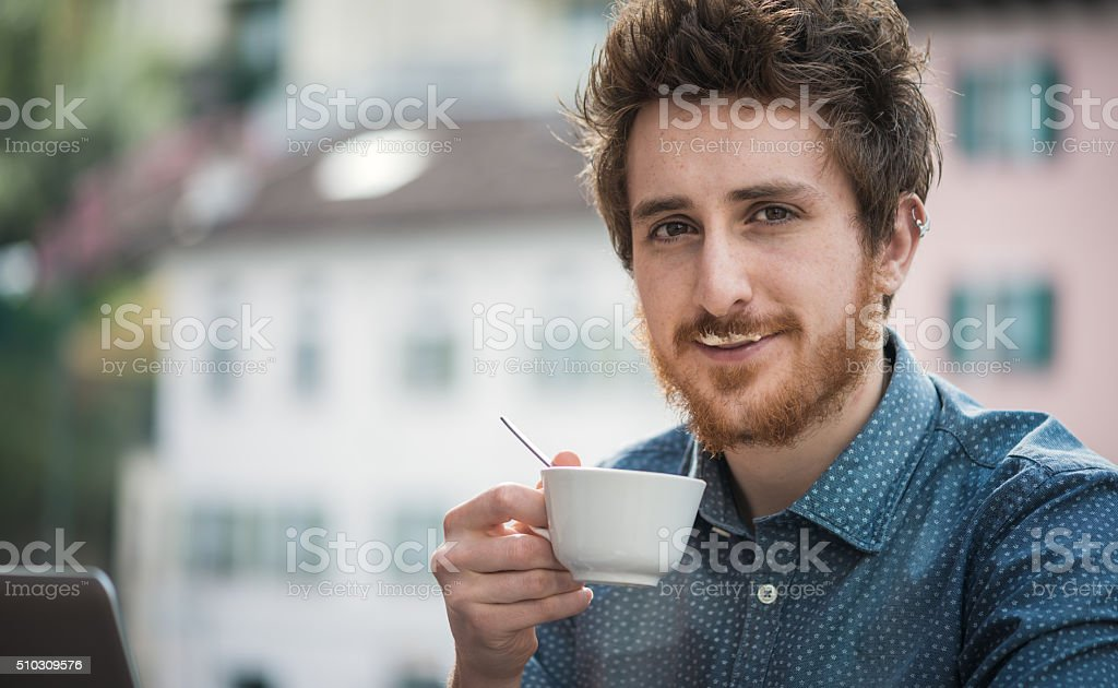Funny guy with milk moustache stock photo