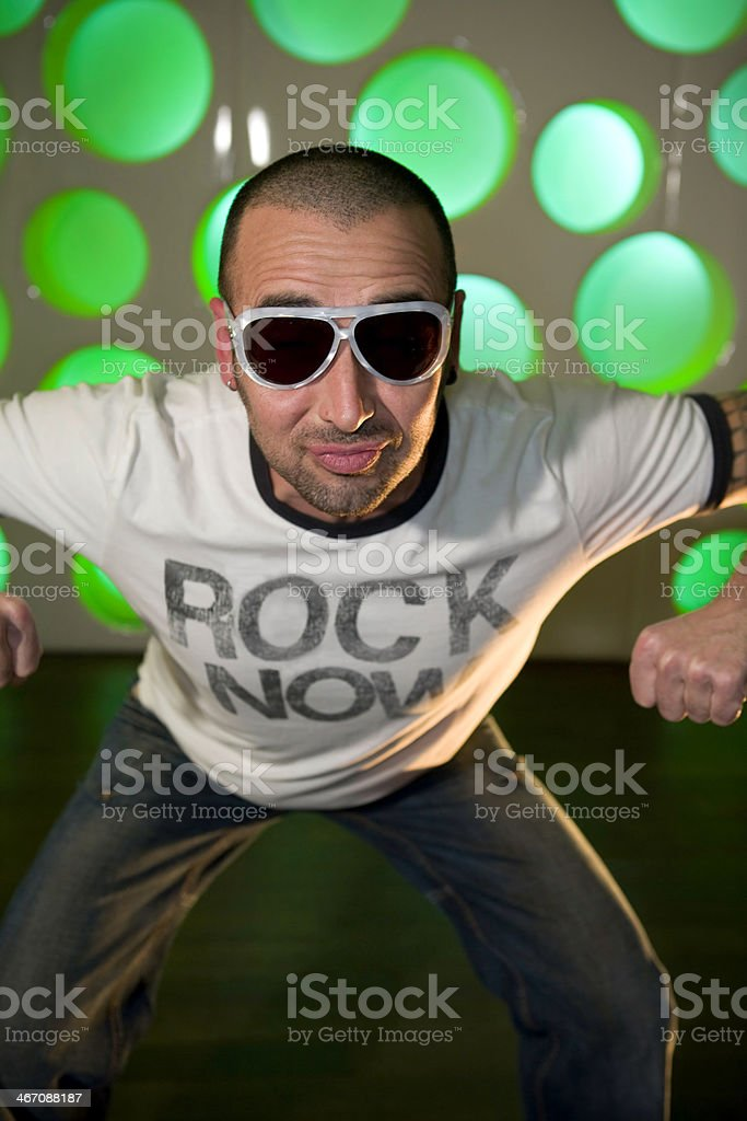 funny guy with rock t-shirt royalty-free stock photo