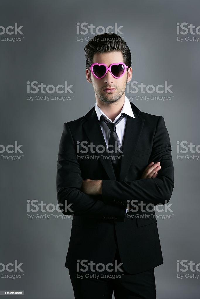 funny heart shape pink sunglasses businessman royalty-free stock photo
