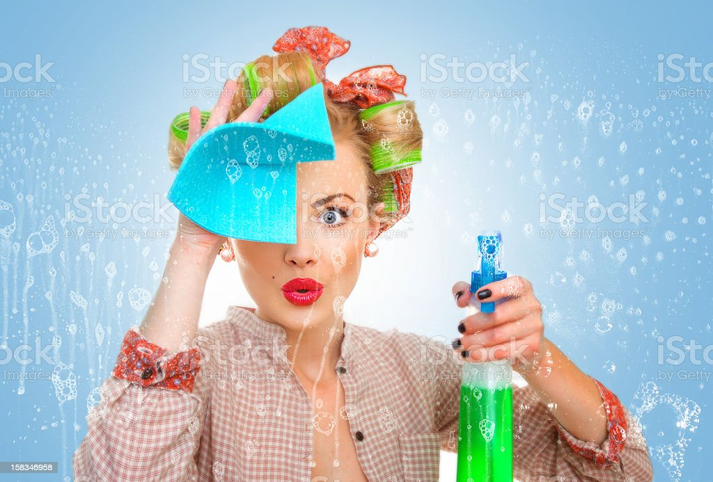 Funny housewife with rag / wipe and cleaning stock photo