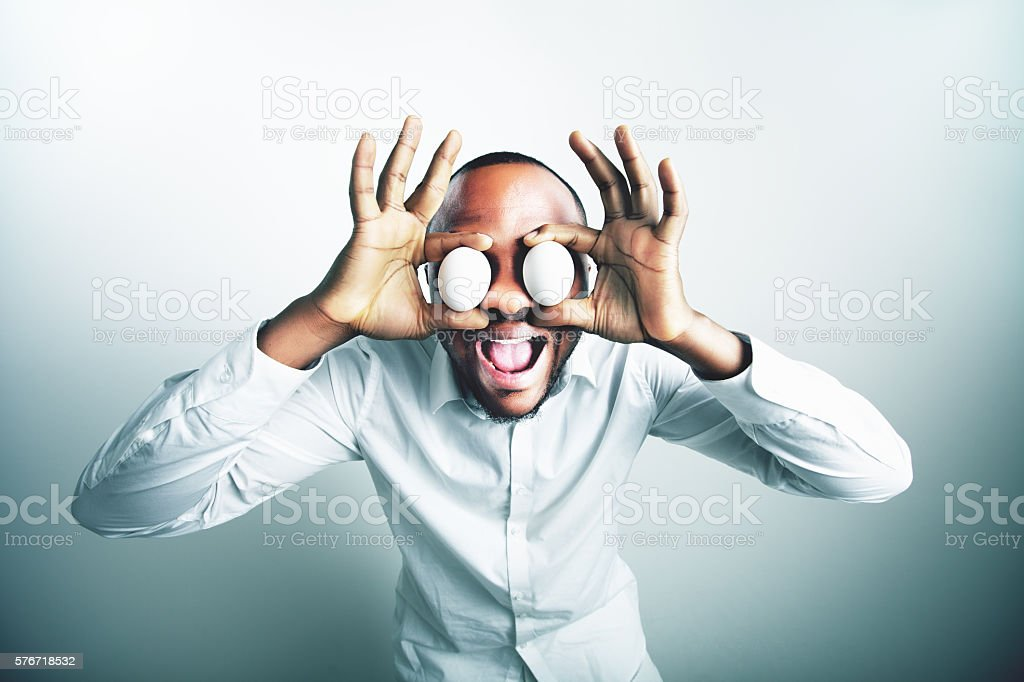 Funny image of african model man stock photo