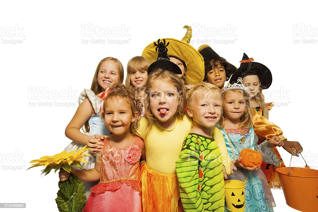 Funny kids in Halloween costumes stock photo