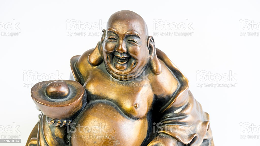 Funny laughing and cheerful golden copper Buddha or Hotei stock photo