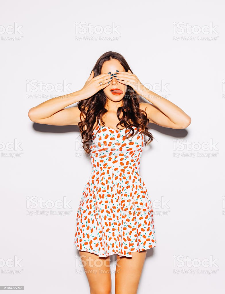 Funny lifestyle portrait beautiful brunette crazy girl stock photo