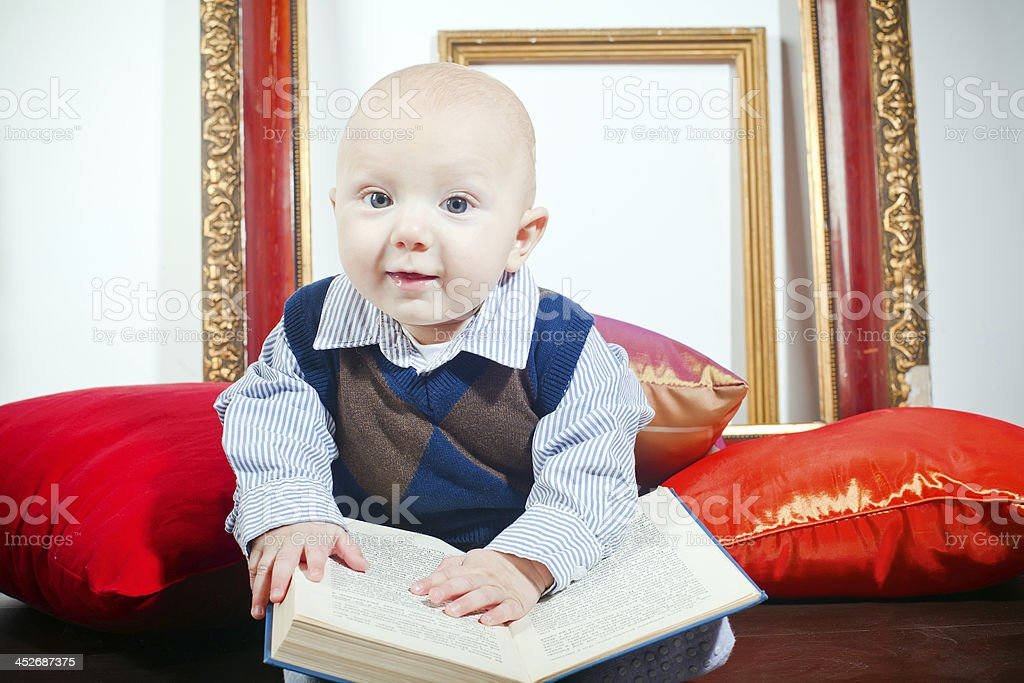 Funny Little Baby With Book royalty-free stock photo