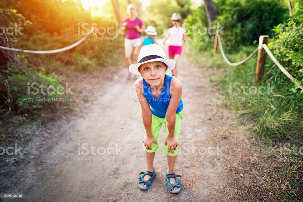 Funny little boy and family hiking in Majorca stock photo