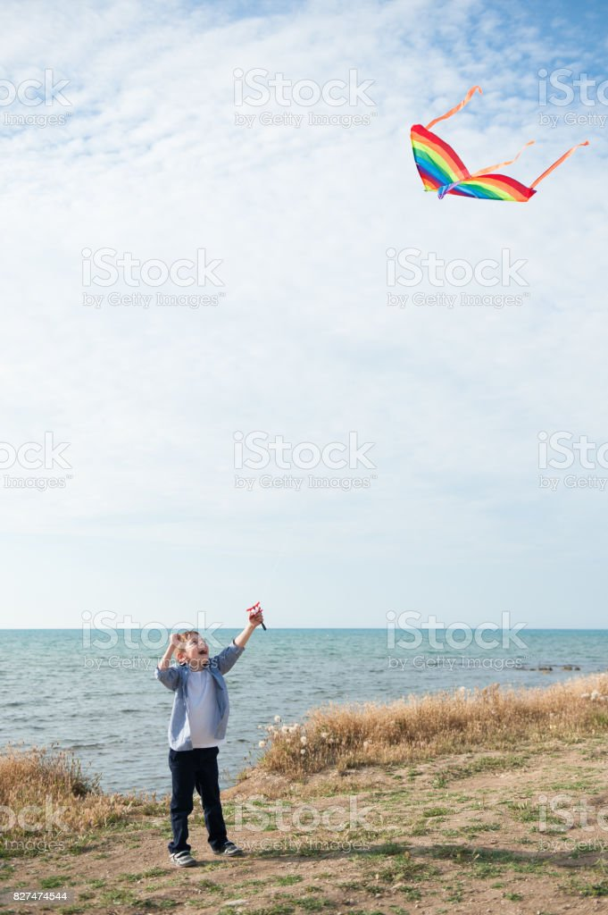 funny little boy holding a flying kite against the sea stock photo