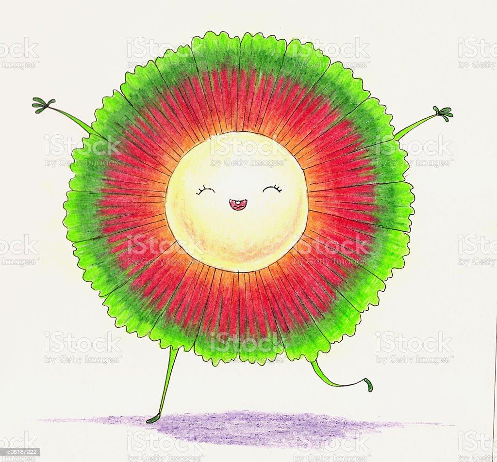 Funny little character. Pandan fruit stock photo