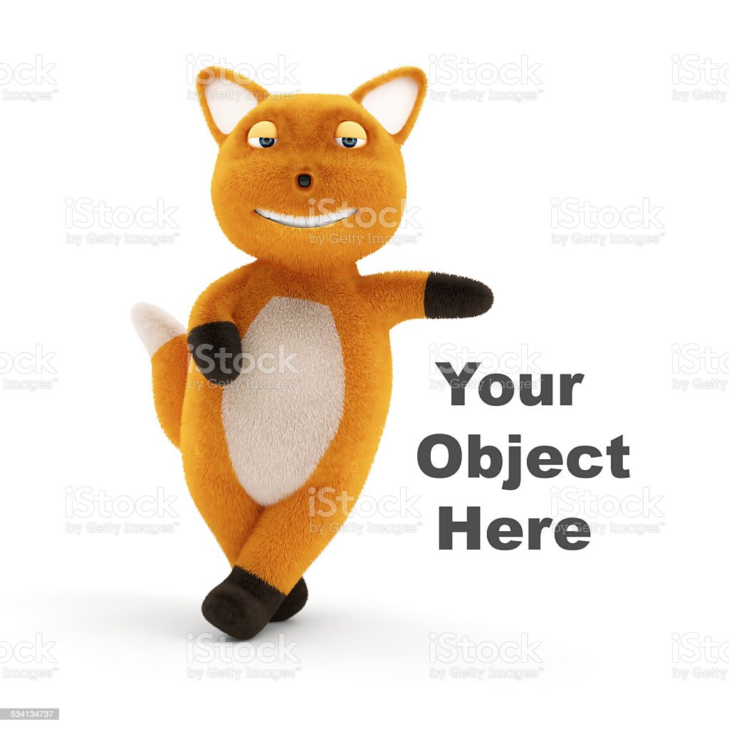 Funny Little Fox Presenting Your Object isolated on white background stock photo