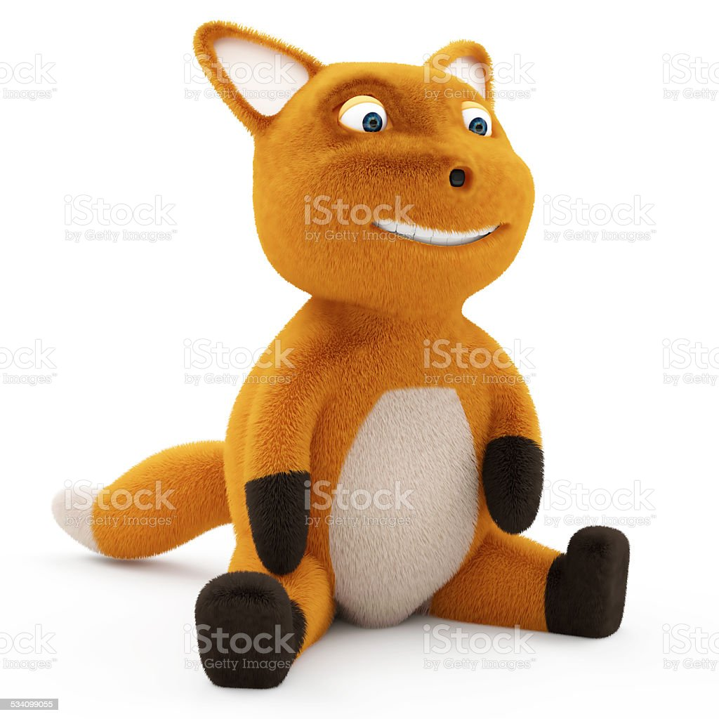 Funny Little Fox Sitting on white background stock photo