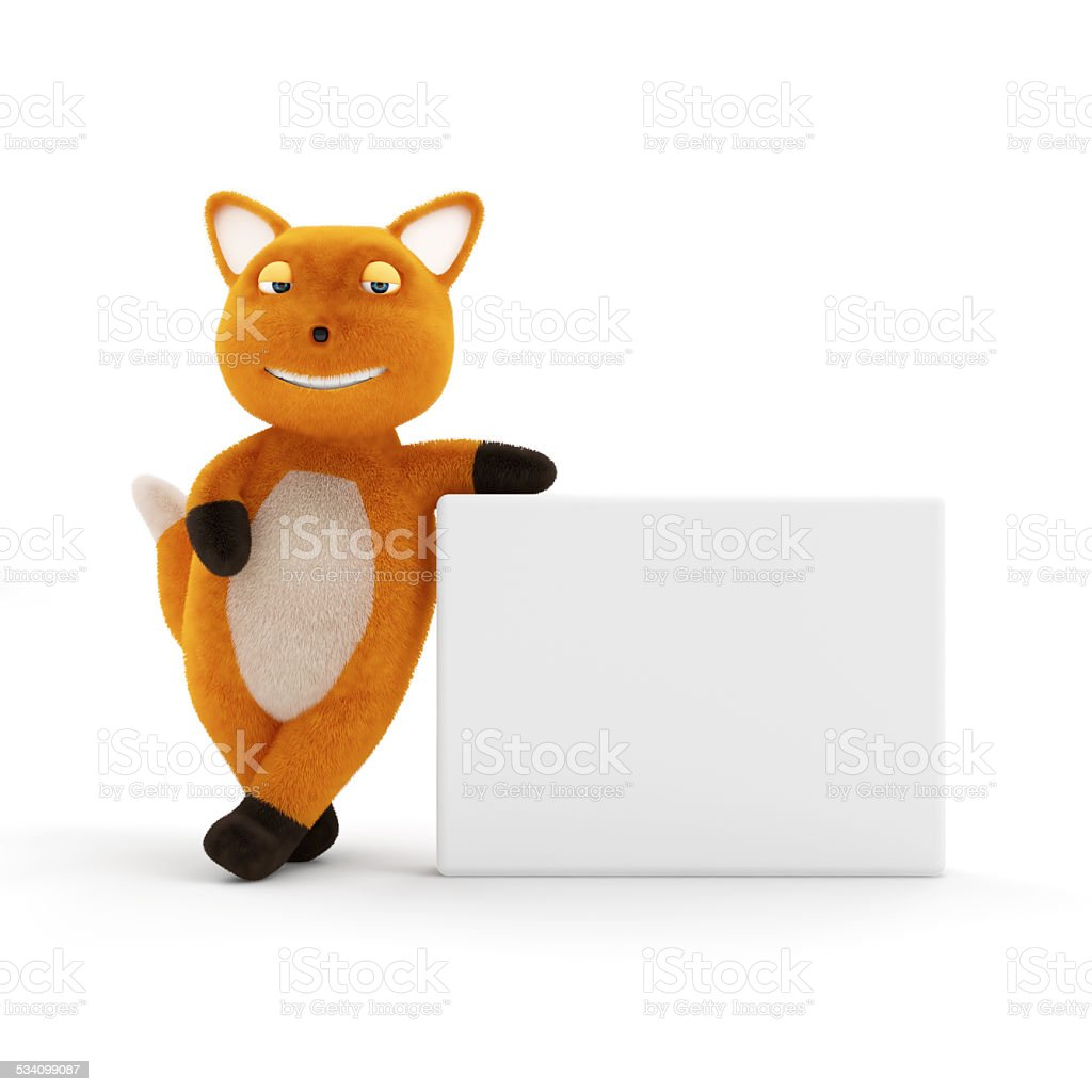 Funny Little Fox with Blank Board isolated on white background stock photo