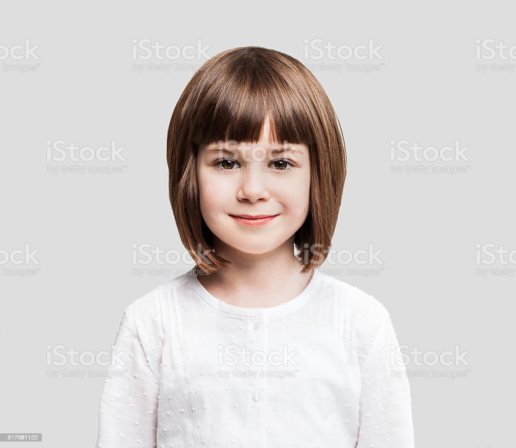 Funny little girl portrait stock photo