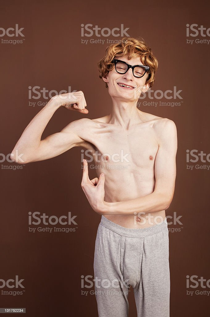 Funny macho guy stock photo