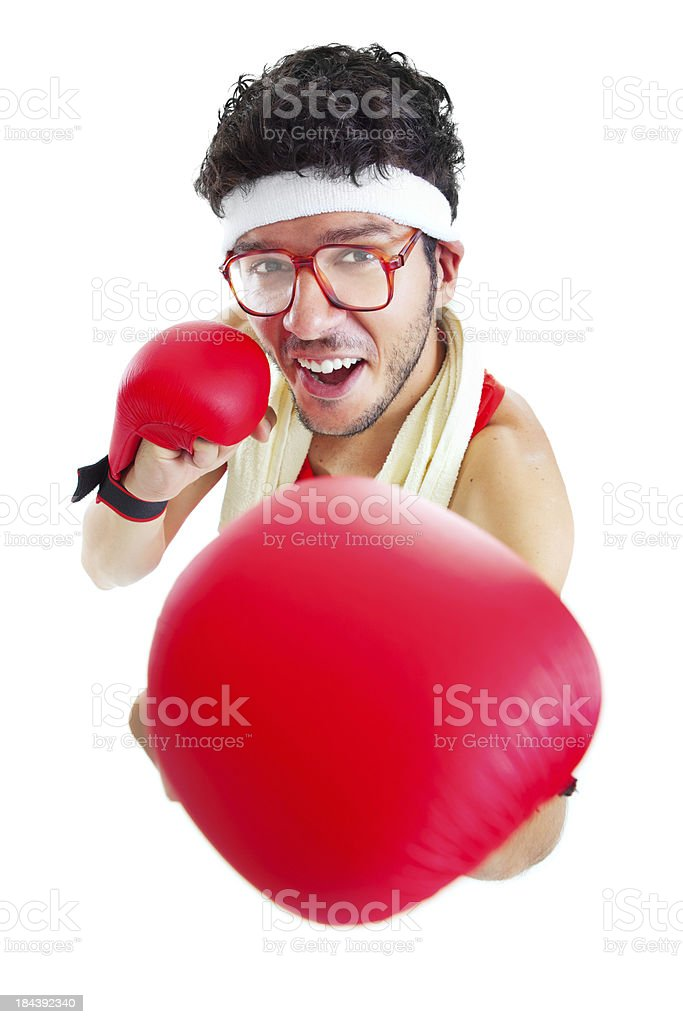 Funny male boxer with red gloves isolated on white background royalty-free stock photo