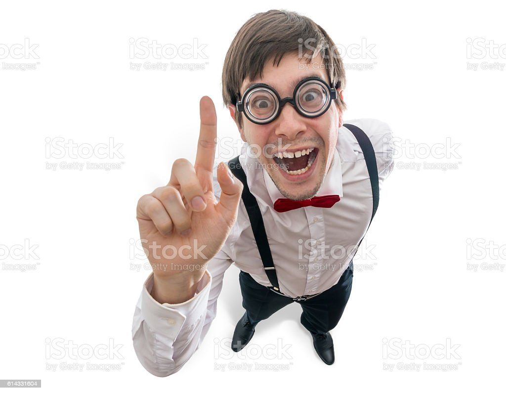 Funny man had an idea and holds finger up. Isolated. stock photo