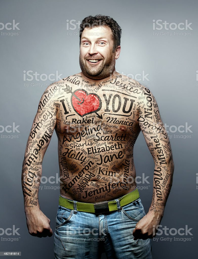Funny man make declaration of love to all woman stock photo