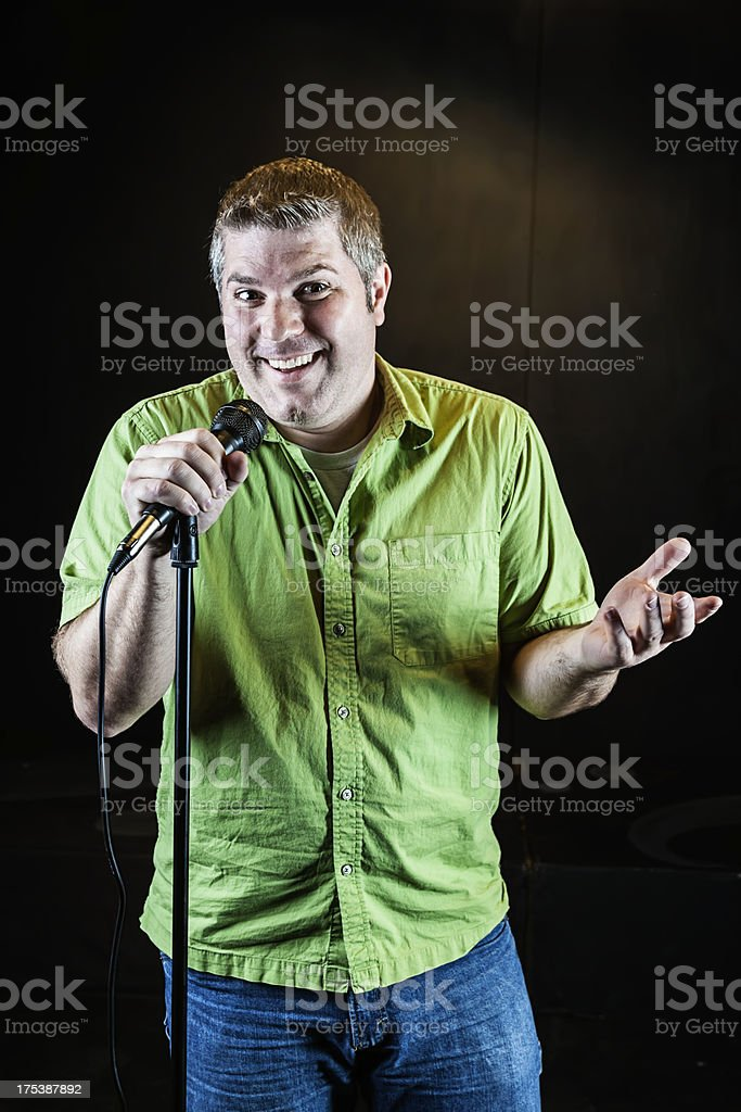 Funny Man With Microphone stock photo