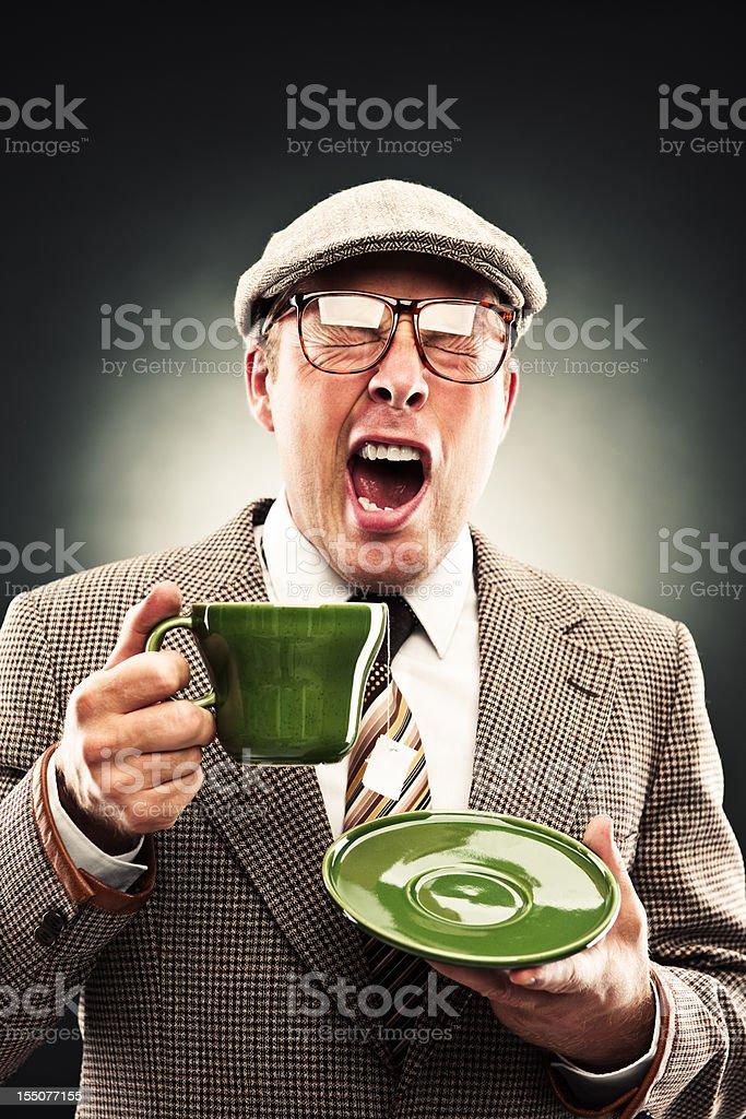 Funny man with tea royalty-free stock photo