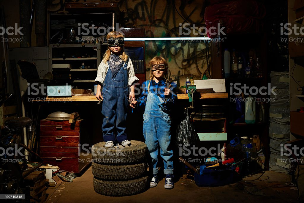 Funny manual workers stock photo