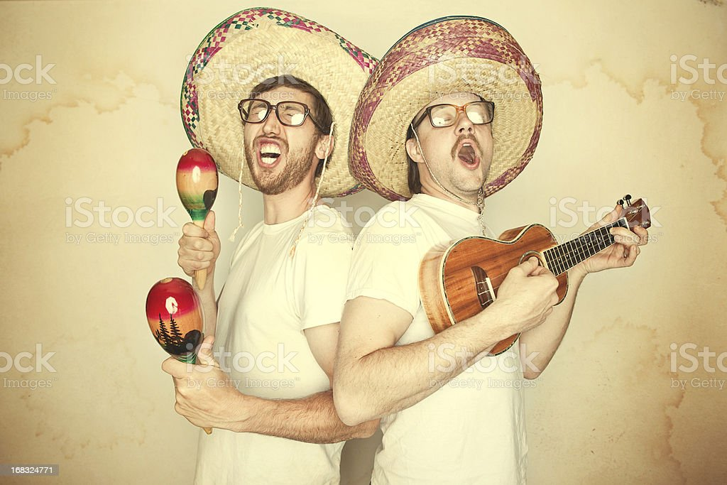 Funny Mariachi Band with Sombreros royalty-free stock photo