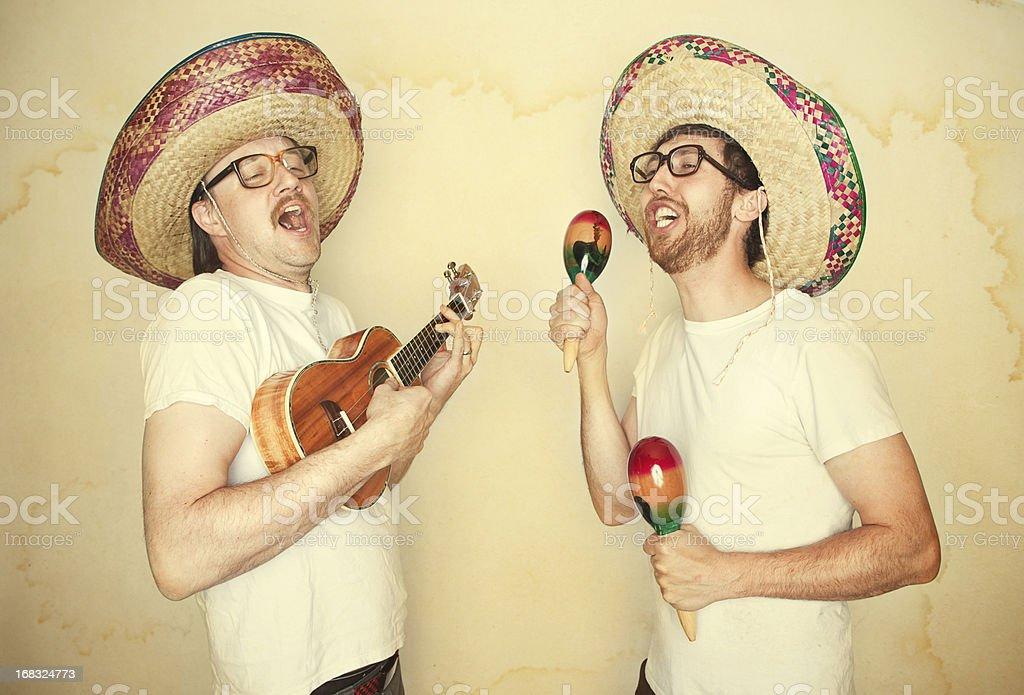 Funny Mariachi Band with Sombreros stock photo