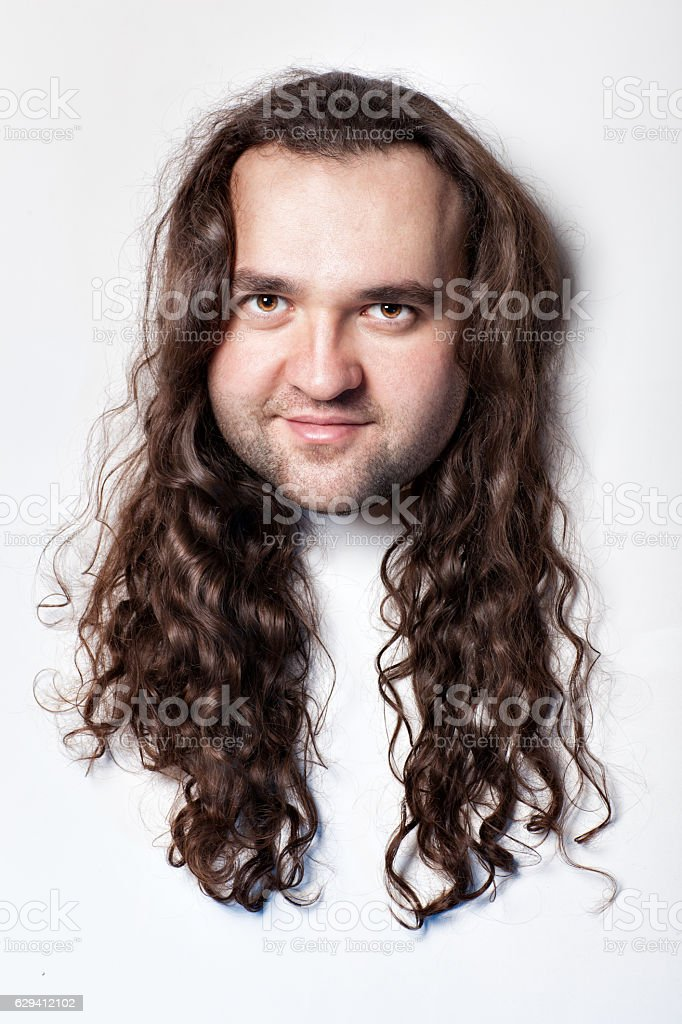 Funny men's head. stock photo