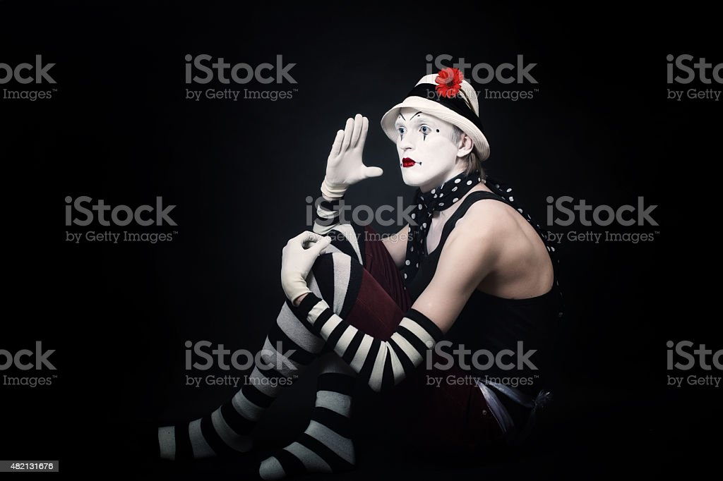 funny mime on black background stock photo