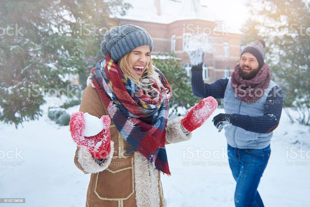 Funny moments in the winter stock photo