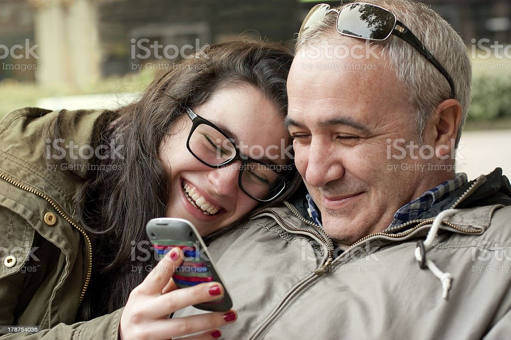 Funny moments with dad stock photo