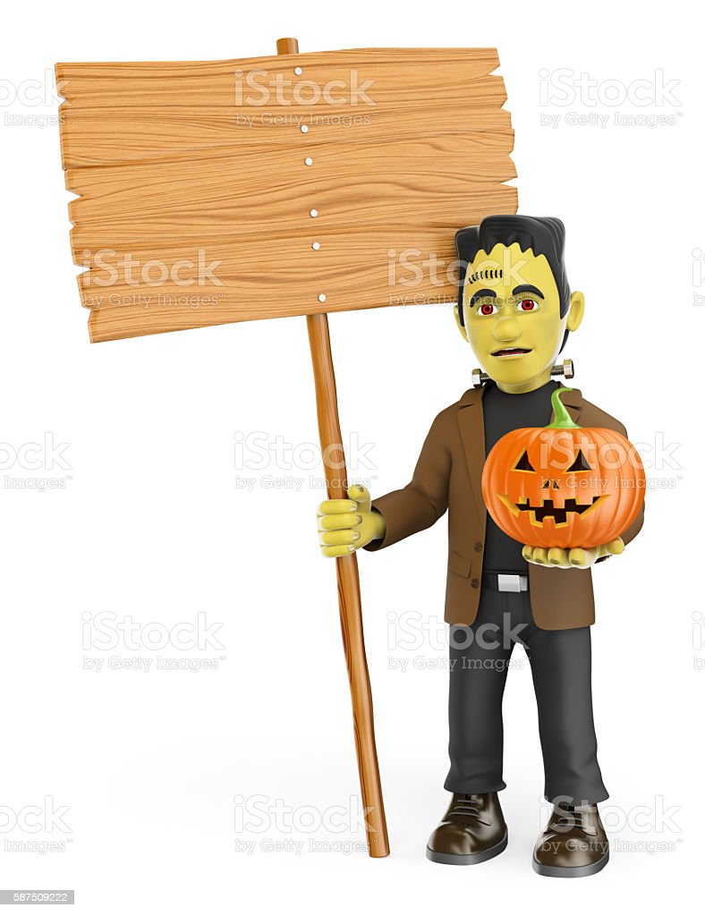3D Funny monster. Frankenstein blank wooden sign and a pu stock photo