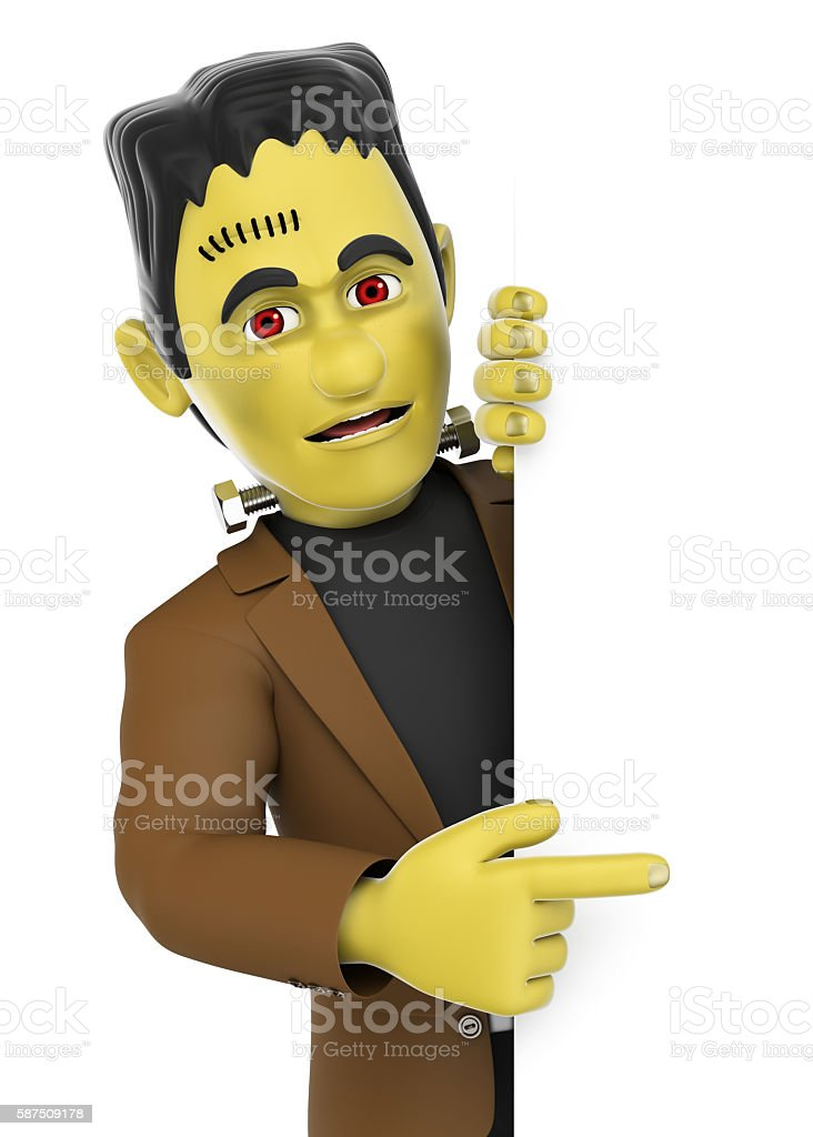 3D Funny monster. Frankenstein pointing aside. Blank space. Hall stock photo